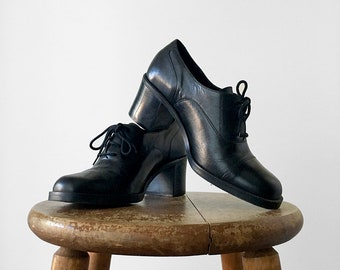 Vintage, 1990's, Black, Leather, Lace-Up, Classic, Blocky, Heeled, Shoe