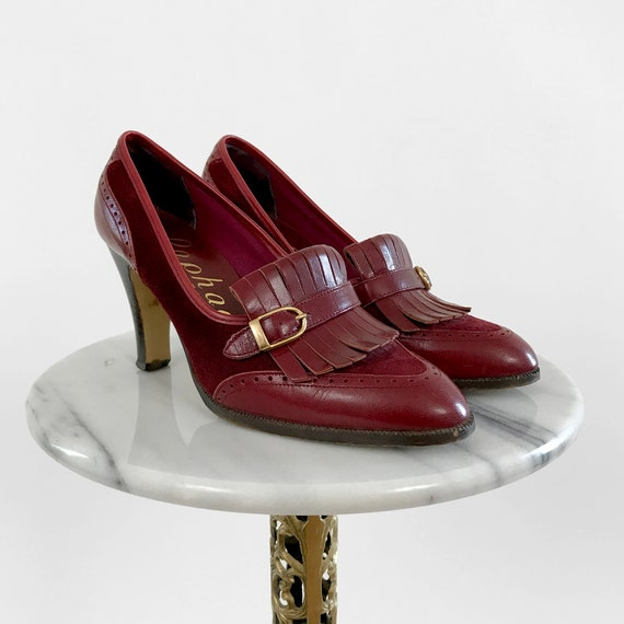 Vintage, Wine-Coloured, Wine-Toned, Suede, Leather