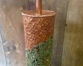 Mid Century Marcello Fantoni for Raymor Torch Cut Copper Brutalist Table Lamp