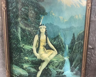 """Indian Maiden with Peace Pipe Pin Up 11 x 14/""""  Photo Print"""