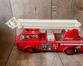 Vtg 1950 39 s Horikawa Mystery Action Battery Operated Fire Engine Action Tin Toy Japan W Box