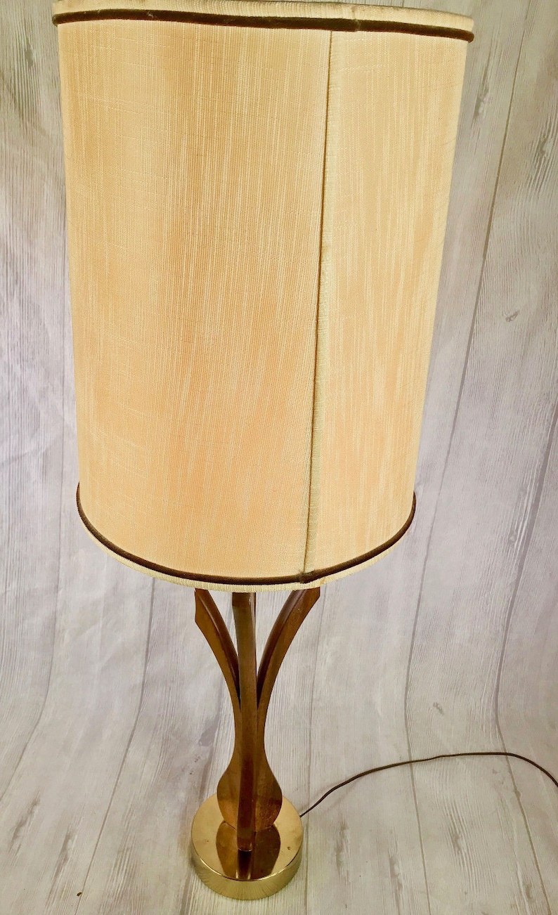 Vtg Mid Century Modern Brass Wood Table Lamp Tall Great Looking Retro Piece
