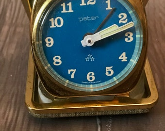 Great Looking Retro Blue Mid Century Modern Peter German Made Travel Alarm Clock