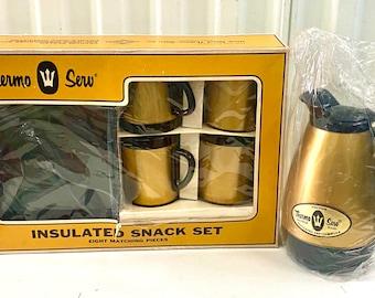 Vintage Mid Century Thermo Serv Gold & Black Coffee Carafe Mugs Serving Plates