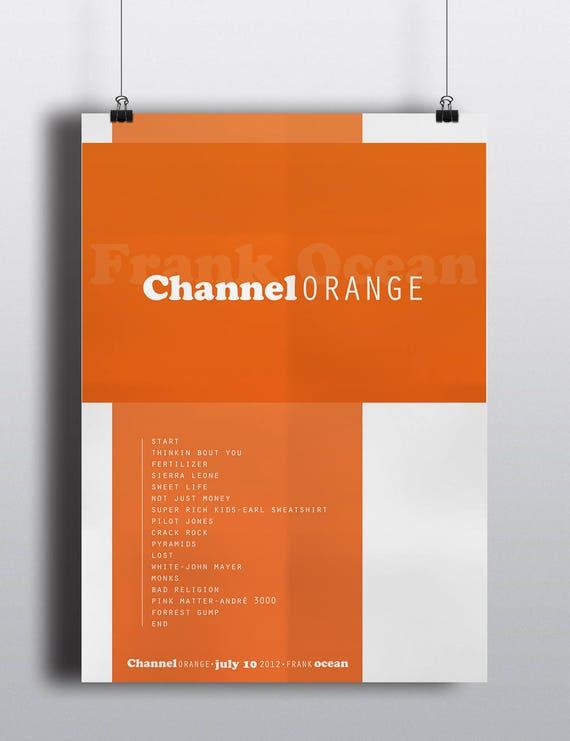 Frank ocean poster, Frank ocean Channel orange album poster, Frank ocean  wall decor, Frank ocean art, Frank ocean channel orange, hip hop