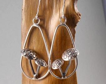 Toadstool - sterling silver earrings