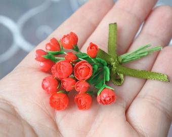 Miniature bouquet. Roses. Miniature. Miniature Flowers. Polymer Clay. Dollhouse