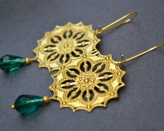 Boho Earrings, Bohemian Earrings, Rustic Earrings, Ethnic Chic, Chandelier Earrings, Dangle Earrings, Handmade Jewelry, Womens Gift