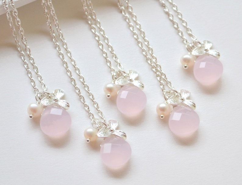 Rose quartz necklace Gift for her rose quartz pendant pearl orchid necklace Gift For Women pink Gemstone necklace Healing Crystal quartz