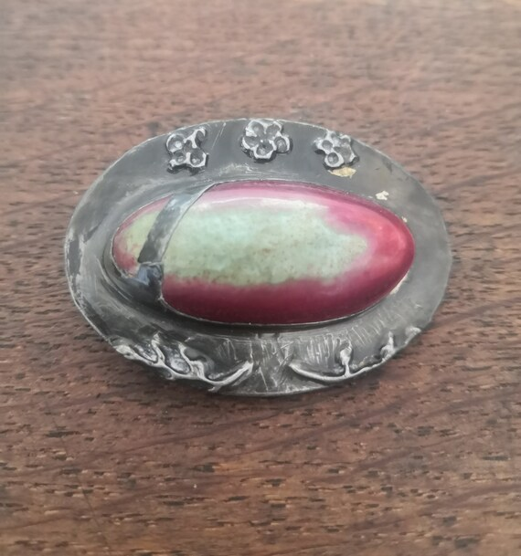 Ruskin Style Arts & Crafts Pewter Brooch