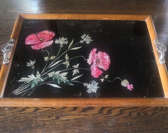 Vintage Wooden serving tray  decorated with irradesant poppies on a black background