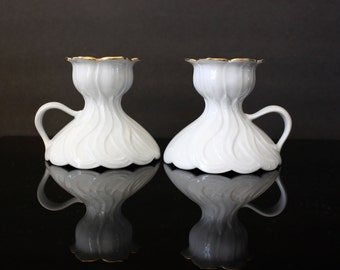White Porcelain Candle Holders Seltmann Weiden Bavaria Germany
