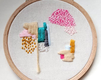 Abstract Embroidery, Fiber Art, Wall Hanging