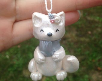 Arctic fox/snow fox/Christmas ornament/Christmas/frosty/silver/white Christmas/holiday/polymer clay/handmade/sculpture/beautiful/holly/gifts