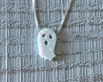 Ghost Opal Necklace/Boo Pendant/Halloween Jewelry/Birthday/Jewellery for Kids and Adults/Autumn/Thanksgiving/Holiday Gift Ideas/Spooky