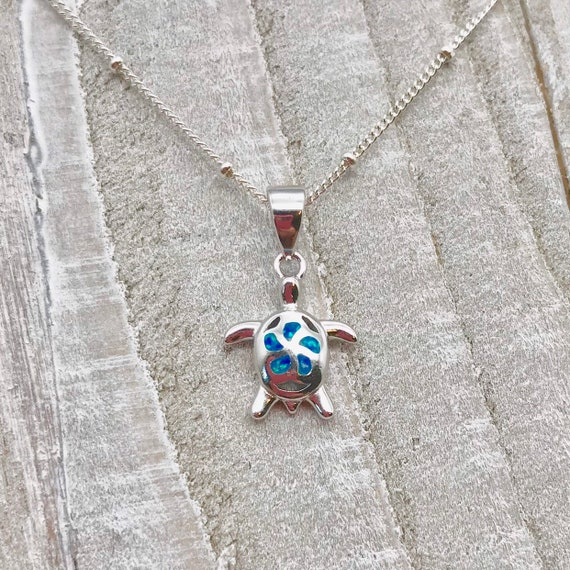 Tropical Mosaic Starfish Pendant Blue Simulated Opal .925 Sterling Silver Charm