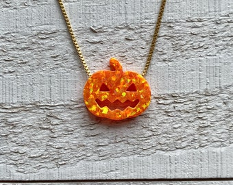 Pumpkin Opal Necklace/Jack O Lantern Pendant/Halloween Jewelry/Birthday/Jewellery for Kids and Adults/Autumn/Thanksgiving/Holiday Gift Ideas