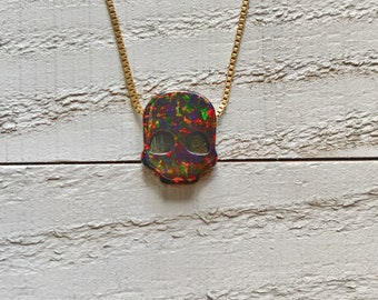 Fire Opal Skull Necklace/Halloween Pendant/14k Gold Filled/Sterling Silver/Box Chain/Holiday Gifts/Spooky Charm/October Birthstone
