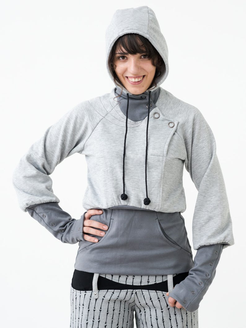 Feminine Hoodie with Huge Snap Buttons