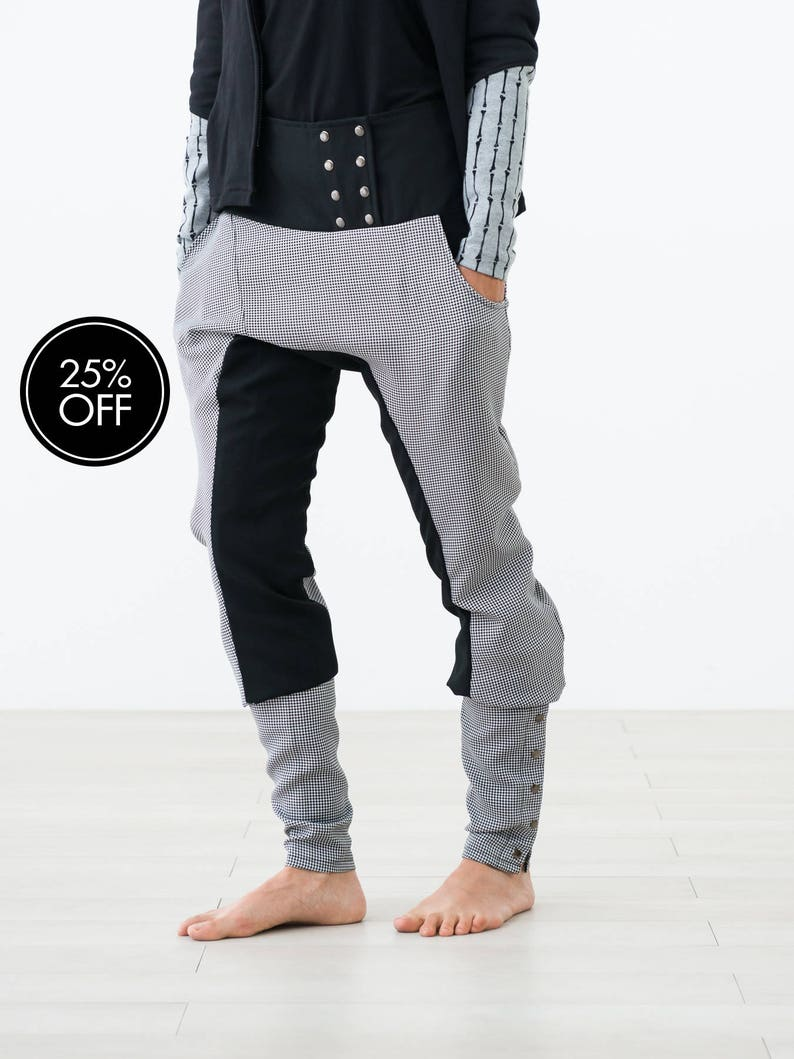 Stylish white & black trousers with buttoned spats LAST PIECE image 0
