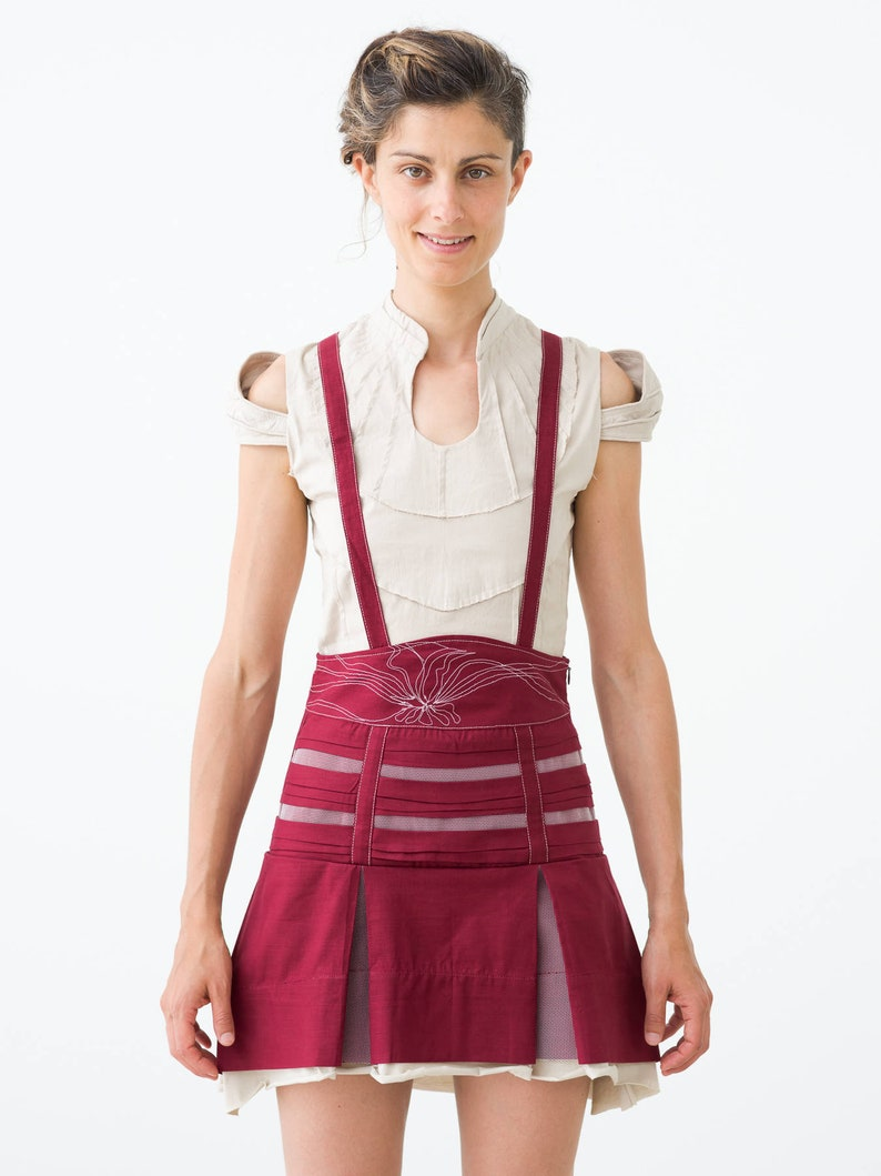 Red Linen High Waisted Skirt with embroidery image 0
