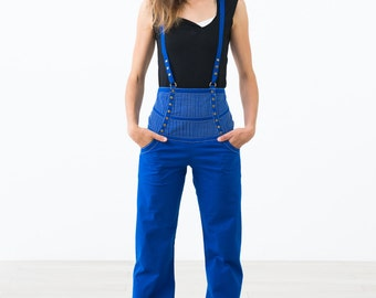 Blue Stretch cotton high waist Suspender Pants