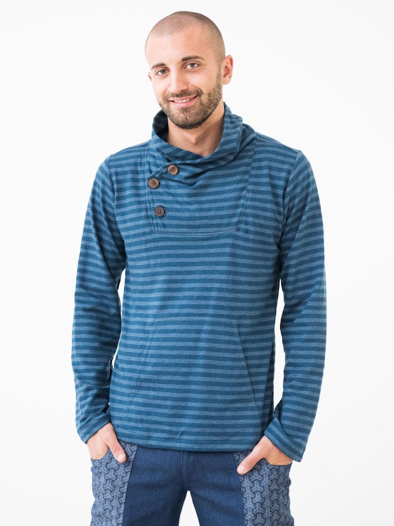 Striped light Mens Sweater with pocket image 0