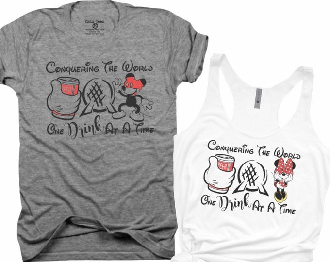 Conquering the world, family shirts, funny mickey, mickey, Minnie, couples, his and hers, best friends, Epcot, vacation, matching shirts