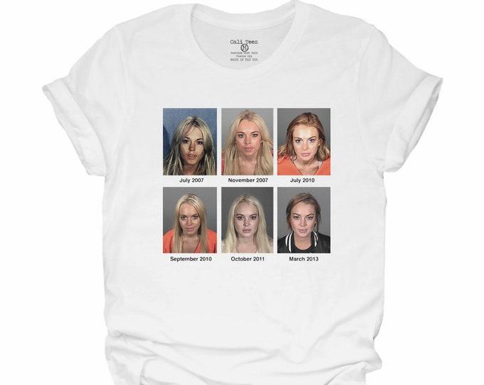 mug shots, lindsay Lohan, lindsay Lohan mug shot, Funny T-shirt, gifts for him, gift for her, mugshot, Lohan, gift for dad,mug shot shirt