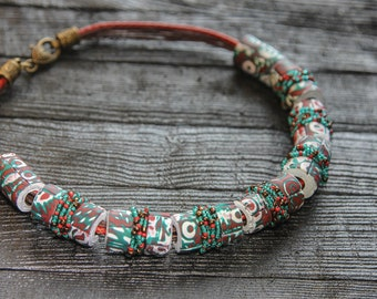 African jewelry Red Necklace Boho Jewelry Boho necklace African Necklace Green Statement Necklace Ethnic Necklace Big Bold Chunky Necklace