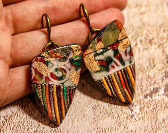 Boho earrings Boho jewelry Big Red Earrings Long Red Earrings Large dangle earrings colorful earrings mosaic earrings talavera tile