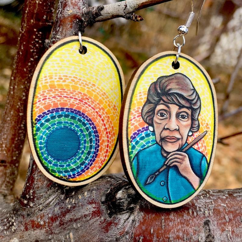 Art Earrings Artist Earrings Inspired by Alma Thomas for image 0