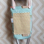 Crutch Bag -  Teepee and Roses on Mint Blue-Green Fabric