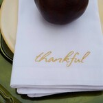 Thankful Embroidered Cotton Napkins - Set of 4 - personalized linens - multiple color options