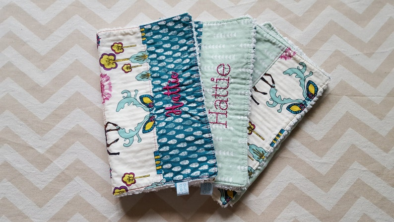 Fanciful Deer and Moose Burp Cloths  can be personalized  image 0