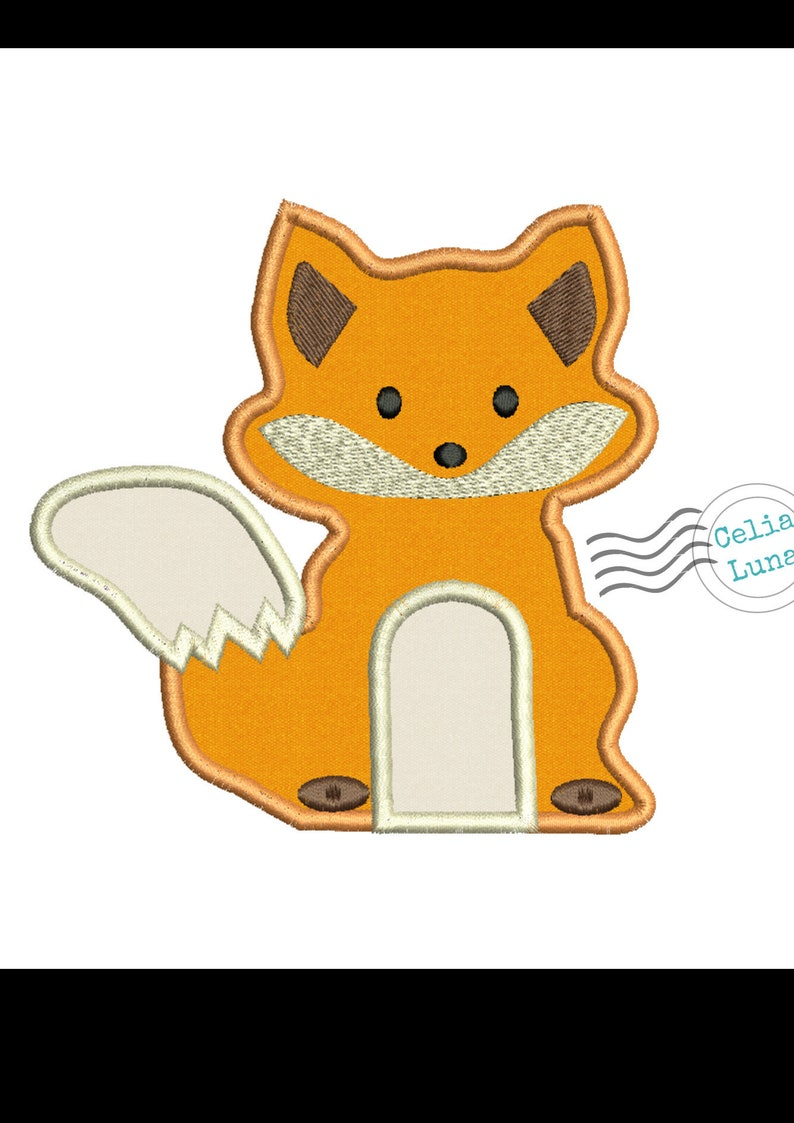 Woodland Fox Embroidery Applique Design 4x4 5x7 image 0