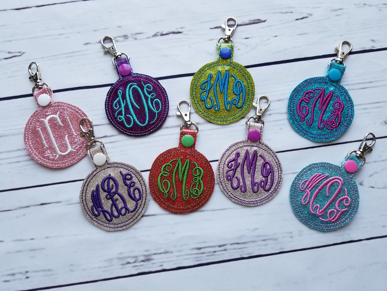 Monogram Glitter Vinyl Key Chain / Backpack Charm image 0