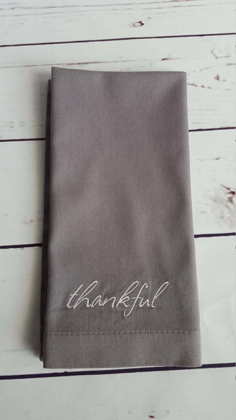 Thankful Embroidered Cotton Napkins  Set of 4 image 0
