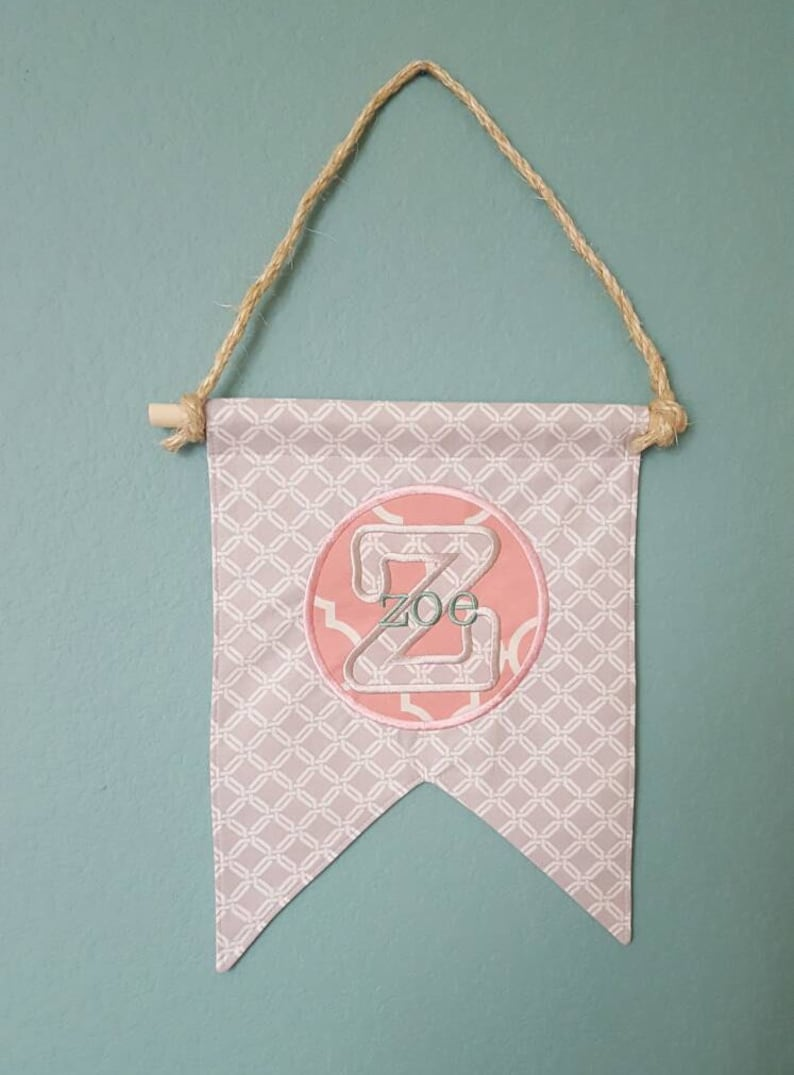 Custom Name Banner / Bunting / Pennant Monogrammed Flag for a image 0