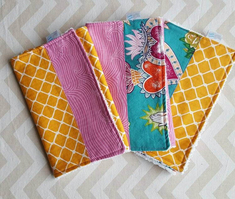 Corazon Burp Cloths  can be personalized  Set of Three image 0