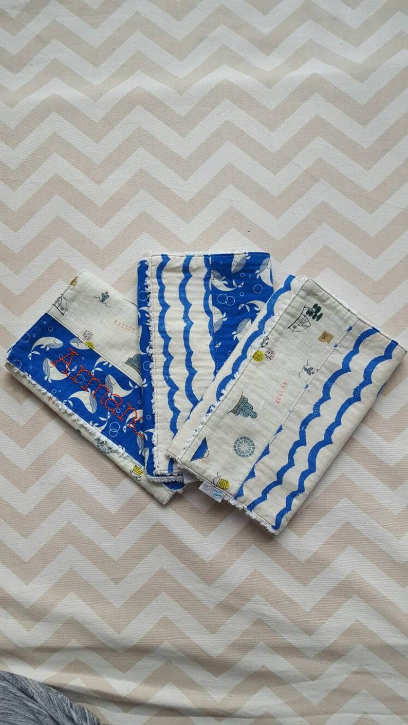 World Travel / Whale / Waves Burp Cloths  can be personalized image 0