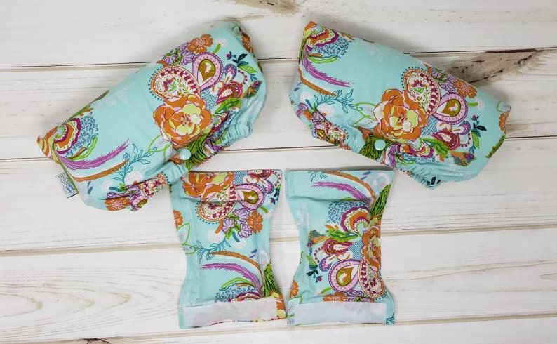Crutch Underarm and Hand grip Covers  Aqua Colorful Blooms image 0