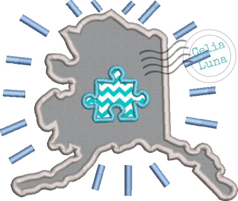 Autism Alaska Blue Applique Machine Embroidery Design 4x4 5x7 image 0