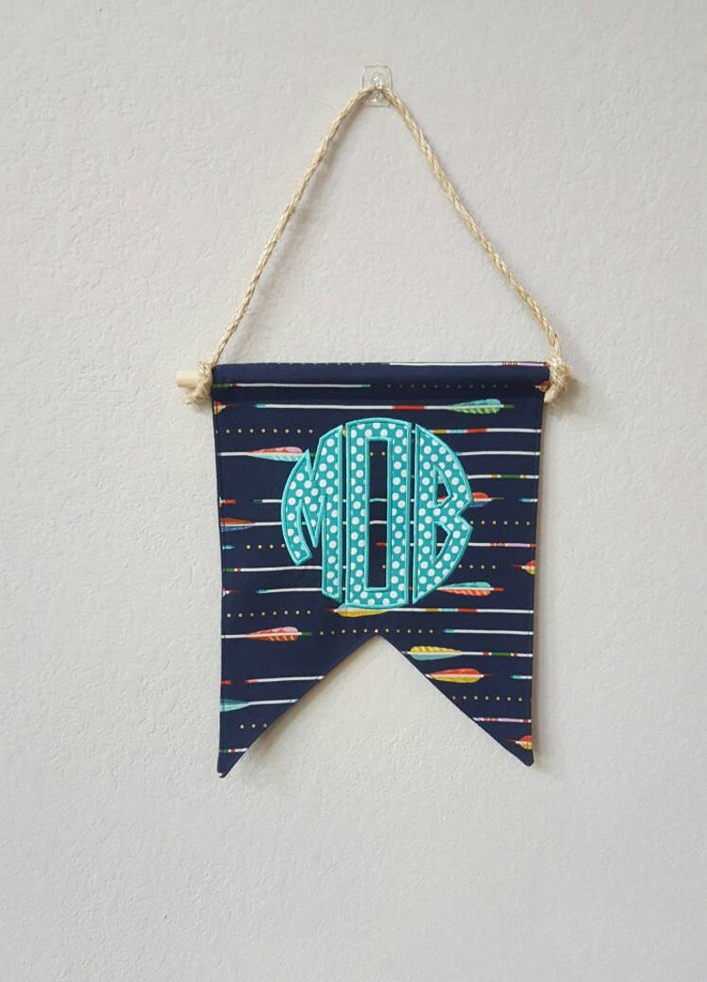 Custom Monogram Banner / Bunting / Pennant / Flag for a Boys image 0