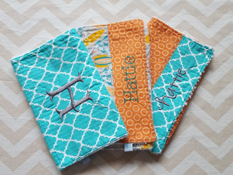 Peacock Burp Cloths  can be personalized  Set of Three image 0