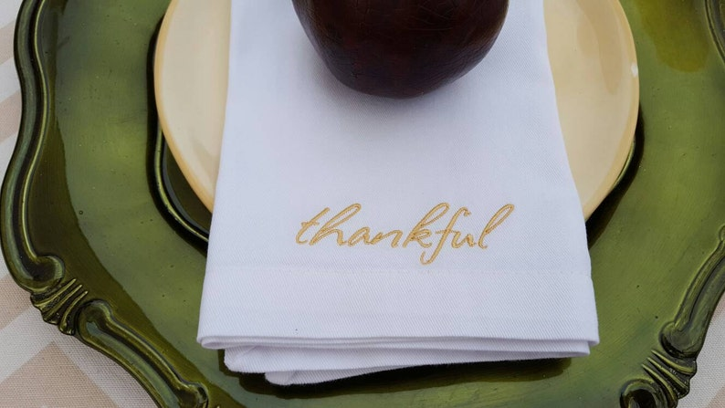 Thankful Embroidered Cotton Napkins  Set of 4  personalized image 0