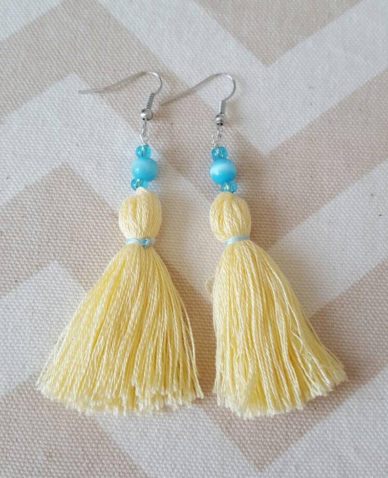 Soft Yellow and Aqua Tassel Earrings with Aqua Cat Eye Beads image 0