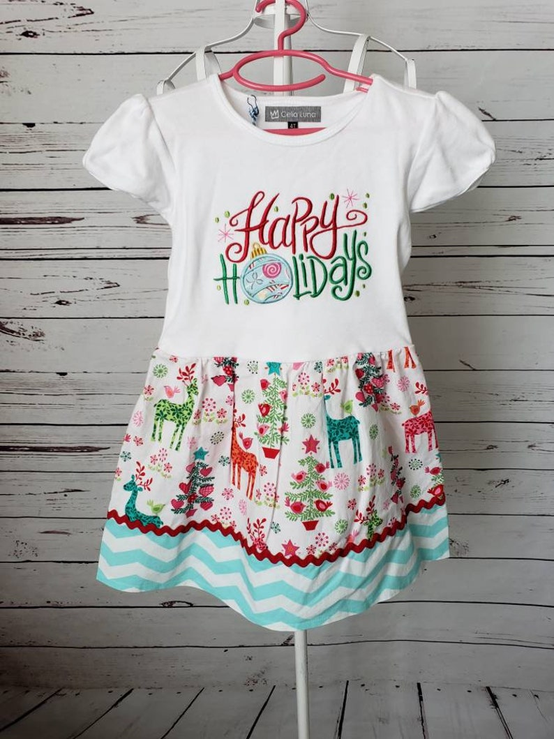 Happy Holidays T-shirt dress with skirt  Size 4T image 0