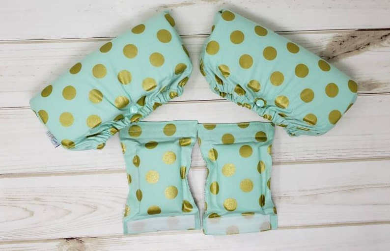 Crutch Underarm and Hand grip Covers  Mint Gold Polka Dot image 0