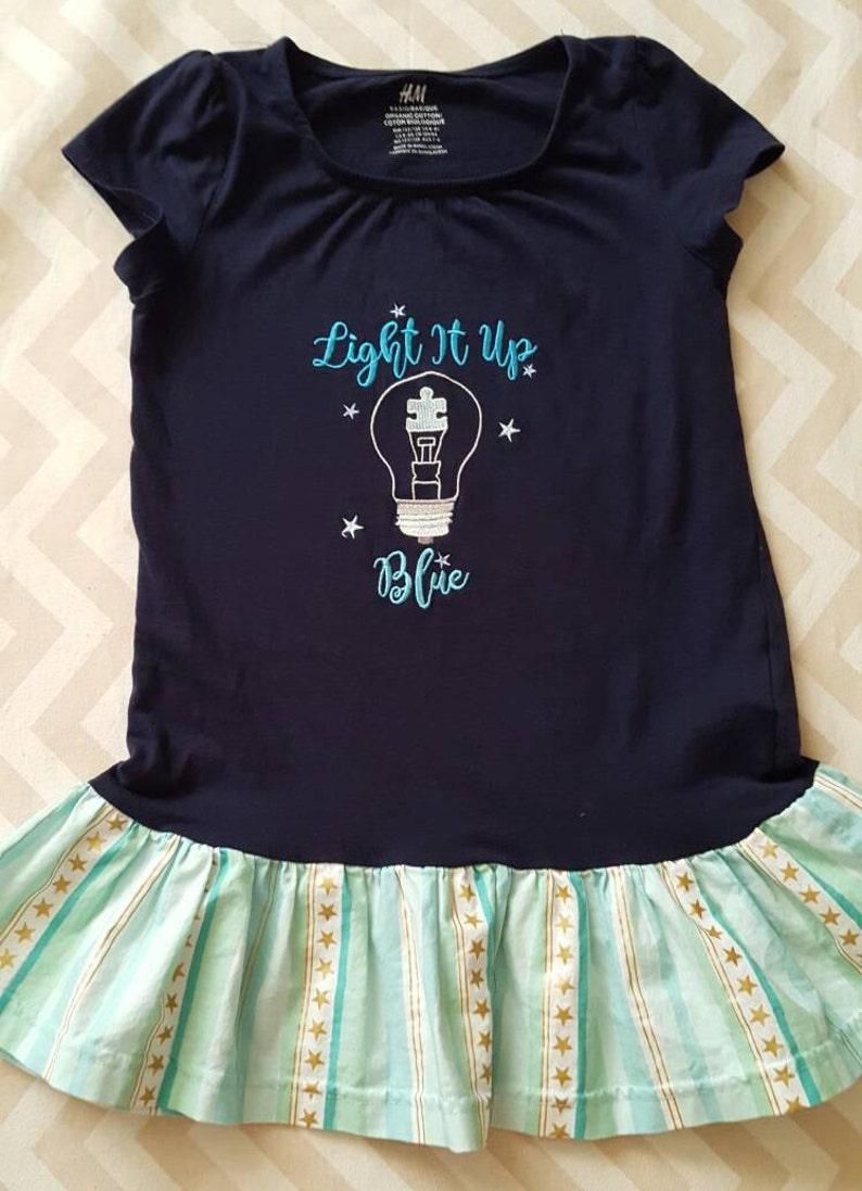 Light It Up Blue Autism Awareness Shirt  Girls Shirt image 0